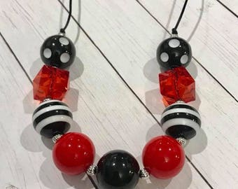 Black and Red Chunky Bubblegum Necklace