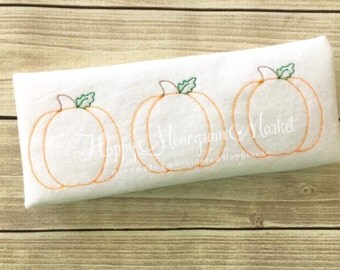 Three Little Pumpkins in a row Embroidery Simple Vintage Stitch Classic Fall Festival Harvest Halloween Thanksgiving Baby's First monogram