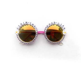 Having a high time ~ Livin' the good life! Decorated funky festival sunglasses with mini daisies and rhinestones