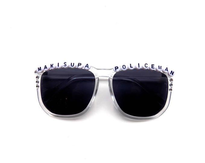 "Phish ""Makisupa Policeman"" hand decorated Groovy Glasses, wayfarer shades with Phish lyrics, funky sunglasses perfect for YEMSG!"