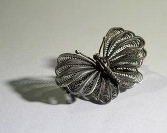 Antique Silver Filigree Butterfly Brooch