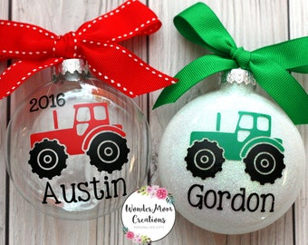 Tractor Christmas Ornament; Personalized Tractor Ornament; Farm Christmas Ornament; Country Themed Christmas Ornament; Farmer Ornament