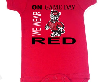 NC State Wolfpack On Game Day Baby Bodysuit