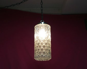 Hollywood Regency Cut Glass Crystal Pendant Swag Light Fixture Mid Century Clear Cut Glass Swag, 1970's Lighting, E F Industry
