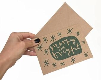 merry and bright Christmas card // festive card // recycled Christmas card // kraft paper Christmas card // minimal festive card