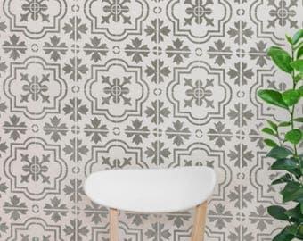 MARBELLA Tile Stencil - Mediterranean Victorian Furniture Floor Wall Tile Stencil - MARB01