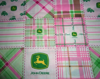 John Deere Fabric Farm Fabric By the Yard or Half Yard Cotton Quilting Novelty Fabric Kids Fabric Pink John Deere Tractor Fabric