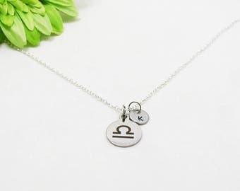 Silver Libra Necklace - Zodiac Necklace - Astrology Necklace - Zodiac Charm Jewelry - Libra Charm - Zodiac Jewelry - Birthday Gift