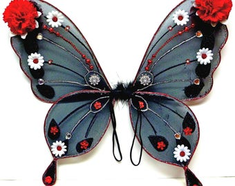 Halloween Adult Child Black Wings with RED Jewels Custom Wings Mask Wand Jeweled Wings Costume Wings Queen of Hearts Wings