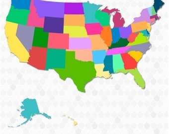 United States SVG, 50 States, SVG Files for Cricut, Instant Download, EPS Files, Digital Download, Cut Files, State Svg, State Cut Files