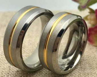 8mm Personalized His and Hers Titanium Rings, Custom Promise Ring for Him and Her, Couple Promise Rings, Wedding Bands, Purity Ring