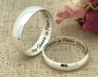 6mm/4mm Personalized Sterling Silver Wedding Band, His & Hers Custom Engrave Promise Ring, Wedding Ring, Couples Ring Sets