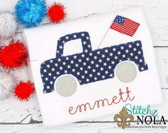 Patriotic Truck with American Flag, Patriotic Truck Applique, Red White and Blue Applique, America Applique, Memorial Day, Fourth of July