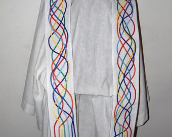 READY to SHIP Rainbow Covenant Clergy Stole  II Corinthians 1:20