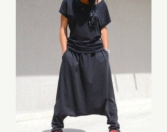 Drop crotch pants, Harem pants, black oversize pant, black loose pant, Hip hop pants, casual loose pant, Cotton pants, Burning man Pants
