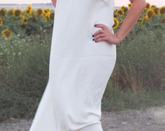 Double Layered Gauze Pure Cotton White Maxi Dress, Low Round Neckline , Sleeveless , Long Dress, Handmade