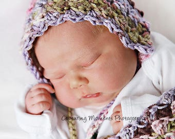 Newborn baby, infant, toddler bonnet, hat for photography prop or baby gift.  Vintage look.   Knit crochet handmade. Gorgeous colors!