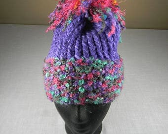 Hand Knit Hat, Dread-like Pom Pom Hat, Toque, Winter Hat