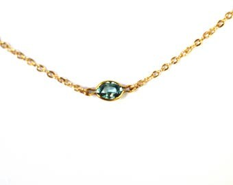 Lux  Blue Zircon Gemstone Necklace/ Delicate Necklace/Gemstone Necklace/Simple Necklace/ Gold Fill/ Sterling Silver/ Layering