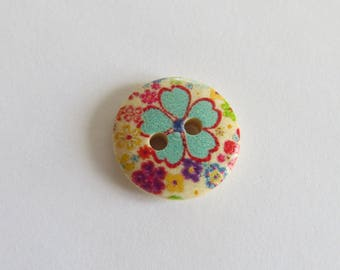 Turquoise and purple flower pattern wooden button