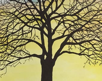 Winter tree, watercolor painting