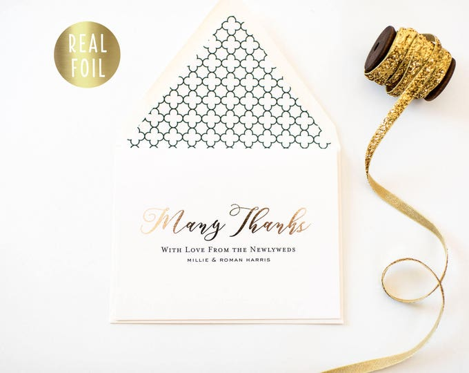 NEW!  millie gold foil personalized  thank you cards (set of 10) // wedding thank you cards real gold foil pressed stamped card