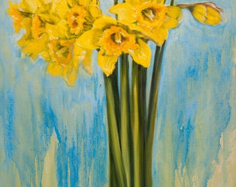 Oil Painting Spring Daffodils Original Artwork Home Decor Wall Hanging Art Floral 40x60cm