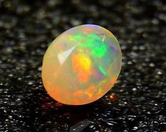 50% OFF - Ethiopian Opal Oval Cut - Faceted Ethiopian Opal Oval Shape 9x7x5.5 mm Gemstone Rainbow Fire Opal Gemstone (GPO-67)