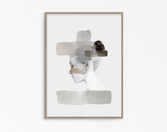 Woman art print  living room female Abstract Wall Art Minimalist Living Etsy