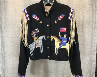 Double D western jacket with cavalry and native American figures