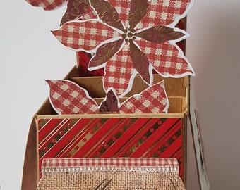 Personalised Handmade 3D Pop-Up Christmas Poinsettia  Card  - Mum, Dad, Sister, Wife. Husband, Nan, Friend, Daughter etc