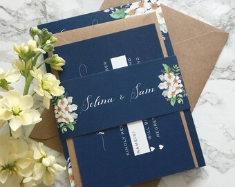 Wedding Invitation Set Navy Wedding Invitation Floral with reply card & belly band Wedding Invitation Suite Navy Watercolour Sample