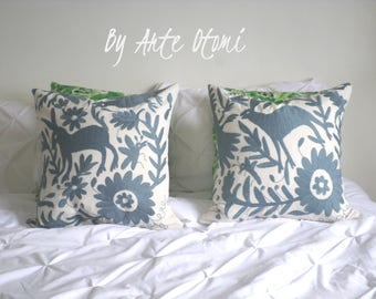 Otomi Pillow sham Grey embroidery - Hand embroidery pillow case - Pillow cover - Throw pillow - Cushion - Decorative Pillow Grey - Otomi