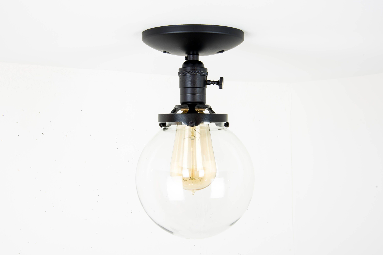 Black glass globe semi flush mount light fixture flush mount light fixture 1 arubaitofo Gallery
