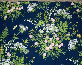 Vintage Waverly Fabrics division of F. Schumacher & Co., MINUET, Navy Blue with White Lily of the Valley  Floral Design Fabric