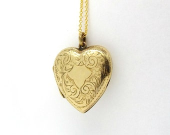 9ct Gold Heart Locket | Antique 9ct Back And Front Locket | 9k Pendant Locket Necklace