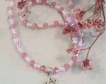 Star of David pendent necklace with pink Swarovski crystals and seed beads, sterling silver