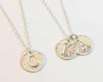 Disc Initial Necklace, Sterling Silver Letter Necklace, Hammered Disc Necklace, 1, 2, 3 Initials Necklace, Children's Kids Initials Necklace