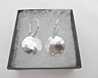 Silver convex earrings, Fine silver earrings, Silver disc earrings, Silver domed earrings, Textured earrings, Hammered earrings, Made in UK