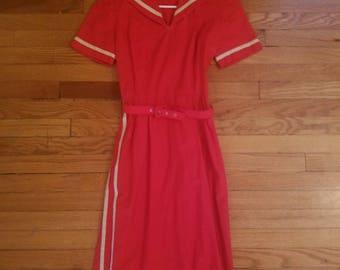 Vintage 50s Red Rockabilly Sailor Dress