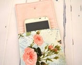 Cell phone sleeve, mobile protection case, french script butterfly pocket, pink rose pouch