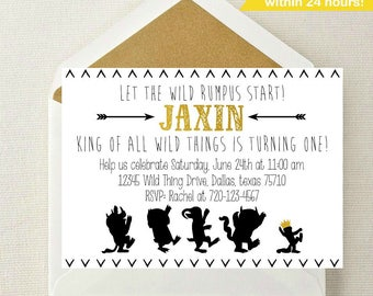 Where the Wild Things Are Invitation / Wild Things Birthday Invitation / Wild Rumpus Birthday / Where the Wild Things Are Invite