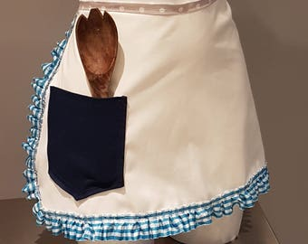 White Cotton Simple Wizard of Oz Inspired Half Apron with Pocket