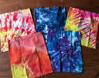 Tote bags Certified Organic Tie Dye Cotton MANY COLORS