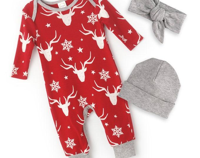 Newborn Christmas Romper Red Reindeer, Baby Boy Girl Christmas Bodysuit, Baby Girl Boy Christmas, Red White Cotton, Tesababe