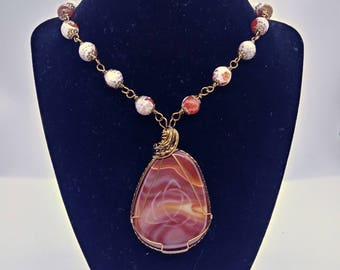 Gorgeous Agate Rosary Style Wrap pendant necklace