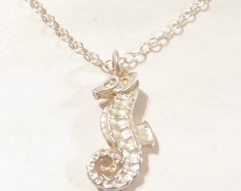 3D Sterling Silver Sea Horse Necklace