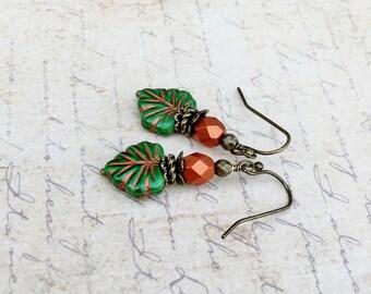Green Earrings, Green Leaf Earrings, Copper Earrings, Copper Leaf Earrings, Copper and Green Earrings, Czech Glass Beads, Gifts for Her