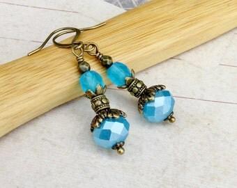 Blue Earrings, Light Blue Earrings, Aqua Earrings, Aquamarine Earrings, Pale Blue Earrings, Victorian Earrings, Czech Glass Beads, Gifts