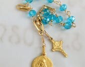 Rosary Bracelet - Saint Mary Magdalene Turquoise Crystal - 18K Gold Vermeil